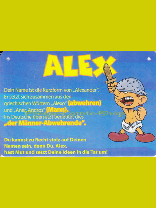 Postkarte / Namensschild - Alex
