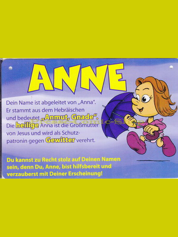 Postkarte / Namensschild - Anne